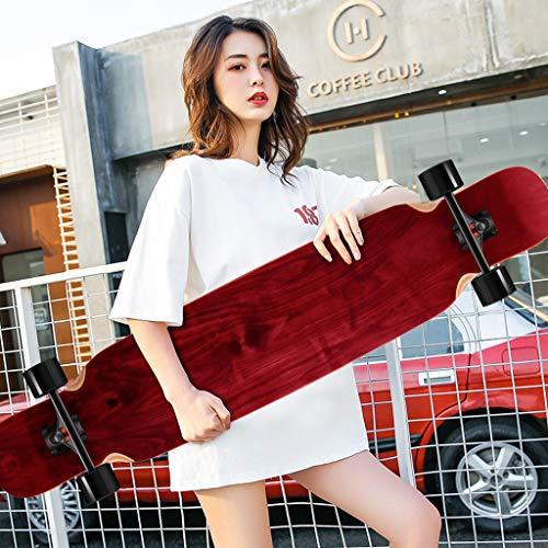 Classic Skateboard Longboard Professionelles Skateboard Double Rocker Dance Board Ahorn Skateboard Pinsel Street Board Hochgeschwindigkeits-Dämpfer - Rot -