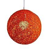 Rattan Lampenschirm, moderne Rattan Ball Deckenleuchte Anhänger rund Lampe schlicht Bestandteil für Home Restaurant Bar Schlafzimmer Hotel Kirche Dekoration (7colors) Orange