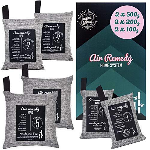 Air Remedy Bag Aktivkohle aus Bambus Luftreiniger, Auto Entfeuchter & Zuhause Lufterfrischer - Geruchsentferner - 6er Pack/Home-System 2x500g, 2x200g, 2x100g - Geruchsneutralisierer, Raumentfeuchter -