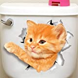 VWH 3D Cat Bathroom Toilet Stickers Wall Decals (05#)