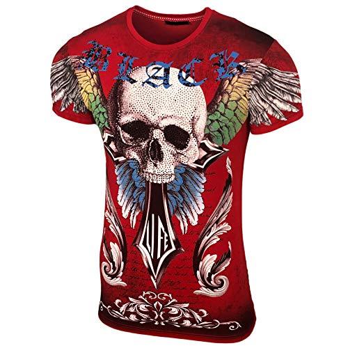 Strass Baumwolle, Elasthan (Herren Rundhals Strass Steinen T-Shirt mit Motiv Kurzarm Slim Fit Design Fashion Top Print Shirt, Größe:M, Farbe:Rot_1901)