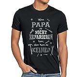style3 Wenn Papa es Nicht reparien kann dann kann es keiner! Herren T-Shirt Fun Shirt Spruch Funshirt, Größe:L;Farbe:Schwarz