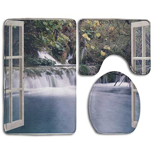 t+Toilet Seat Cover 3 Piece Set Non Slip Bathroom Rug Mat,Wide Waterfall Deep Down In The Forest Seen from A City Window Epic Surreal Decorative Print,Anti-Slip Mat ()