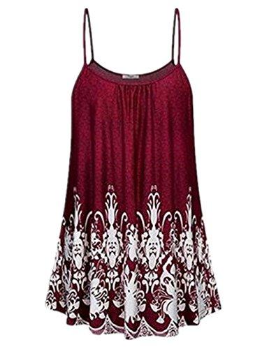 Aoliait Femmes Tops en Été sans Manches sans Manches Vest Epaule Nue Décontractée Chemises Imprimer Floral Tunique Lache Lache Grande Taille Sling T-Shirt red