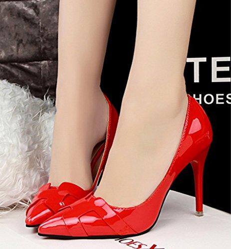 Minetom Donna Scarpe col Tacco Classiche Chiuse Davanti Scarpa Elegante High Heels Lavoro Scarpe Rosso