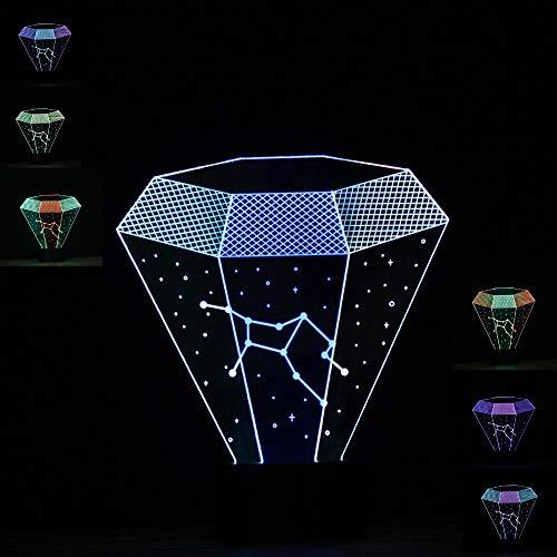 Ydwdnovelty Erfindung 3D Tierkreis-Jungfrau-Nachtlicht-Mischfarben-Lampe Usb-Schlafzimmer-dekorative Geschenk-Stern-Atmosphäre-Note führte Birnen-Direktübertragung
