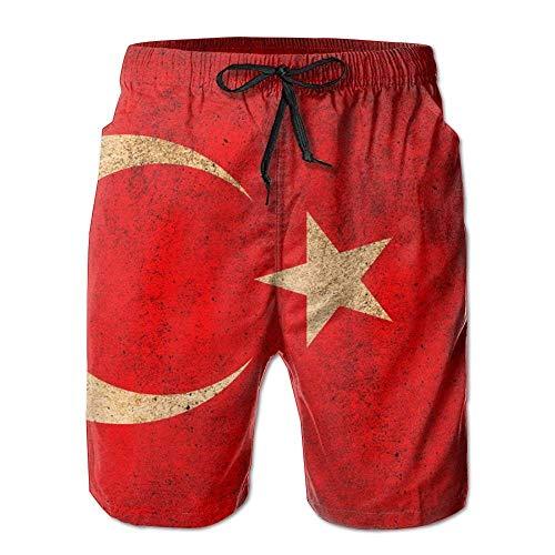Mens Beach Shorts, Vintage Turkey Flag Beach Coverup Shorts for Men Boys, Outdoor Short Pants Beach Accessories,Size:XL -
