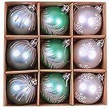 Valery Madelyn 9 Stücke 6CM Weihnachtskugeln Kunststoff Blau Grün Silber Christbaumkugeln mit Aufhänger Weihnachtsbaumschmuck Weihnachten Dekoration
