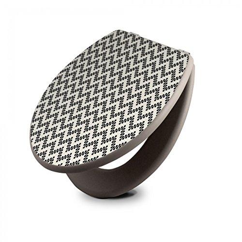 banjado Design Toilettensitz in Taupe | WC-Sitz Holz MDF 42,3x3,5x37,5cm | Klodeckel mit Edelstahl Scharnieren | Toilettendeckel mit Motiv Kegel Zick Zack