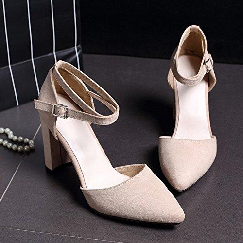 COOLCEPT Damen Mode Kreuz Sandalen Blockabsatz Geschlossene Schuhe Aprikose