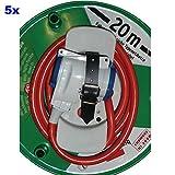 5er-Set IP44 Eurosell Schutzkontakt-Verlängerungskabel Kabeltrommel aussen Typ F (CEE 7/4) - Typ F (CEE 7/3) 20.0 m Rot