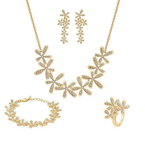 Damen Schmuckset mit Swarovski Kristall 18K Gold Set Frühling Blume Kette Länge 40+5CM Armband 17+4CM Ohrring Ringgröße 56(17.8) von Changeable (Blume Ring Gold)