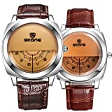 jiangy uyan Paire Montre Mode Montre en Cuir pour Hommes et Femmes ER et Vous zu Voir, Paire de Montres Amoureux, Valentine Horloge Lovers Watch, Matching Watch (Marron)