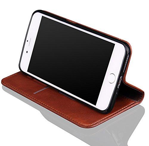 """Nnopbeclik® [Coque Iphone 6 silicone/Coque Iphone 6S silicone] """"Portefeuille"""" en Bonne Qualité PU Cuir Housse pour Iphone 6 Coque Apple/Iphone 6S Coque Apple (4.7 Pouce) Simple Style Flip Case Intérie café"""