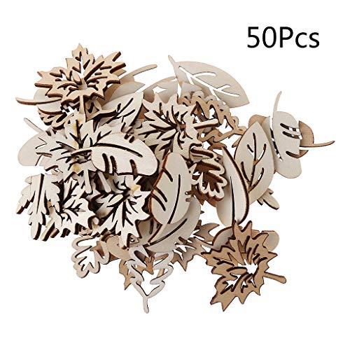 50 adornos madera cortados láser forma hoja decoración