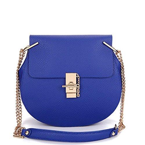 Keral Donne Casuale Elegante PU Pelle Puro Colore Crossbody Borse Blu Grande