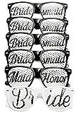 Konsait Despedidas de soltera accesorios, Gafas de Sol Fiesta de Team Bride y novia Decoraciones y Artículos para Disfraces de despedida de soltera Boda Gallina Noche (6 pares)
