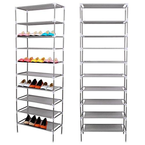 AllRight 10 Ebenen Schuhregal Schuhständer Schuhschrank mit Griffen 170 x 60 x 30cm