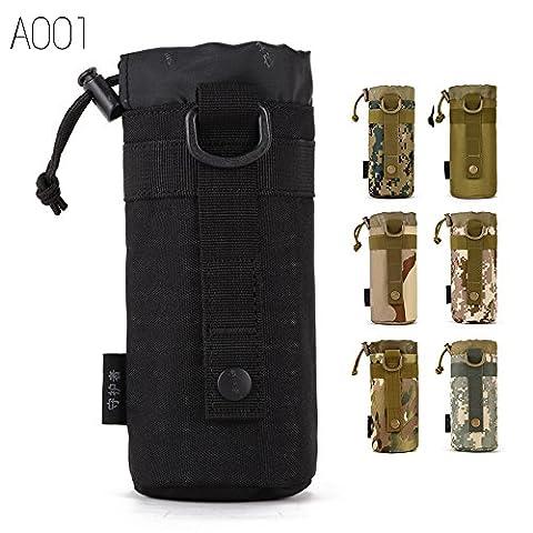 FLYHAWK Tactical Molle Water Bottle Holder Belt Bottle Carrier,Kettle Bag pouch (Black)
