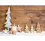 Weihnachtsbild mit Beleuchtung / LED Leinwandbild - 30cmx40cm - Batteriebetrieben - Holztannen & Brennende Kerzen - Dekoration für Weihnachten