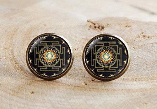 Pendientes de mandala de Sri Yantra, joyería de geometría sagrada y budista, pendientes de yantra espiritual, regalo de joyería de yoga espiritual