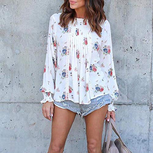 Imagen de shobdw mujeres moda primavera verano tallas grandes cuello redondo manga larga gasa estampado floral camiseta informal sobresaliente blusa diaria tops elegantes blanco,s  alternativa
