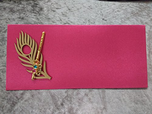 Pack of 2 Premium Designer Money Gift envelopes ( Made With Glossy Velvety Look Sheet ) With Flute Design for Wedding/Marriage/Bday Of Premium Quality Exclusively Designed by Shop Buzz - Megenta Colour / Dark Pink Colour.  available at amazon for Rs.79
