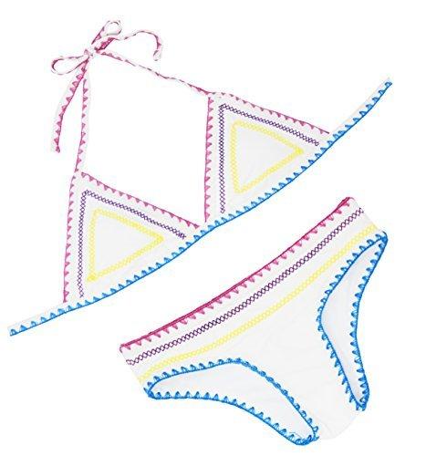 FLORAVOGUE Halter de la Mujer Crochet Neopreno triángulo Bikini Set Dos Piezas bañadores - Blanco -