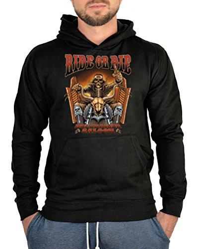 Kapuzen Pullover Biker Druck Motorrad Hoodie Kapuzenshirt : Ride or Die -- bedruckter Hoodie Größe M Farbe schwarz Ride Herren Pullover