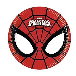 Procos 86669 - Platos Papel Ultimate Spider Man power, Ø20 cm, 8 piezas, rojo/negro