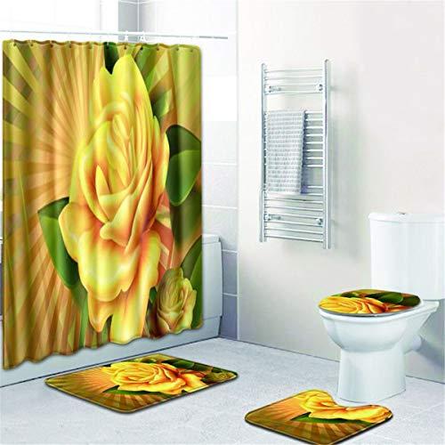 Badezimmer Duschvorhang,Bodenmatte,Bad WC Dreiteiliges Bad Antirutschmatte(Duschvorhang + Bad Mat + Sockel Matte + WC Sitzbezug Matte),B,180 * 180+50 * 80cm