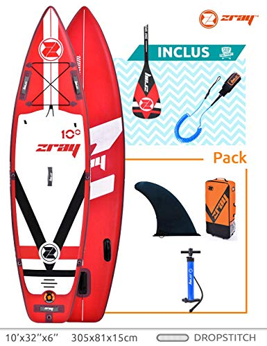 Zray Sup Fury 10' Stand up, Paddle, Planche, Surf, Board Adulte Unisexe, Rouge, 305x81x15cm...