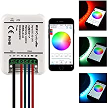 Sunix® Mini Controlador Inalámbrico WiFi RGB/RGBWWCW 12-24V Cinta Luz LED 5 Canales Con Función Remota para Teléfonos inteligentes iOS y Android