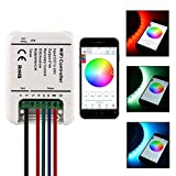 Sunix® RGB/RGBWWCW Kontroller 12-24V Mini Wireless WiFi LED-Streifen 5 Kanäle Kontroller mit Fernbedienung Funktion für iOS und Android Smartphones