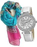 Manico in tessuto design-Set heliobil del turchese alla sciarpa in Set con custodia braccialetto Orologio da donna con cinturino in vera pelle GOOIX