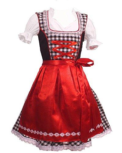 Kiddy tracht bambini dirndl abito tradizionale bavarese dirndl set 3 pezzi costume oktoberfest carnevale donna taglia 92-152 (104)