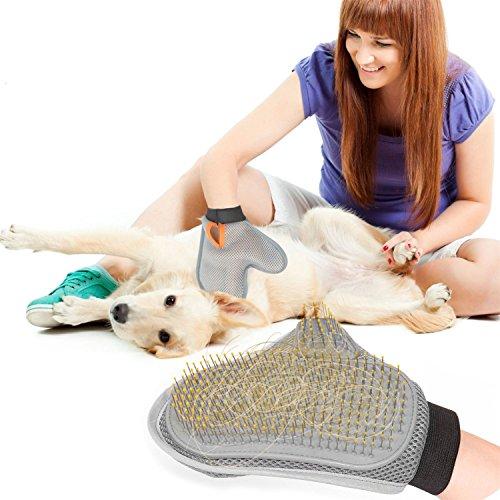 Aodoor 2-in-1 Fellpflege Handschuh Haarentferner Badebürste Dusche Kamm für Massage Shedding für Hund Katze Haustier Grooming Handschuh Haustier Pflegenbürste