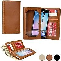 Funda Universal tipo Cartera Cooper Cases (TM) Infinite Wallet para Smartphone de HTC Desire 526 / 526G+ Dual Sim / 626 / 626s en Tan Cuero (Superficie exterior de poliuretano, protector de pantalla incorporado, ranuras para tarjetas, compartimentos para tarjeta de identificación o carnets y billetes)