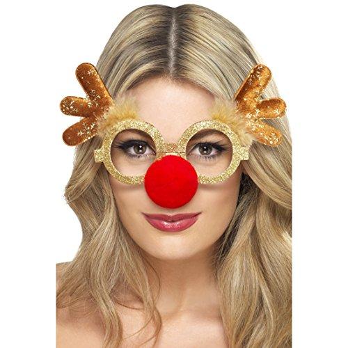 NET TOYS Weihnachtsbrille mit Nase Rentier Brille Weihnachten Spaßbrille Geweih Gagbrille Hirsch Funbrille Lustige Faschingsbrille Karneval Accessoires