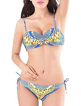 Costume da bagno delle signore Bikini spaccato a vita bassa Briefs Stampa digitale Beach Costume da bagno costume...