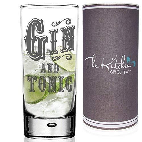 GIN GLASS - Gin & Tonic HighBall Glass & Gift Tube Set - A Funny Novelty G&T Gift For Any Gin Lover Hi-ball Glas Set