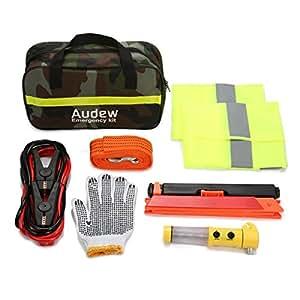 Audew Auto Kit di Emergenza per La Sicurezza Della Guida Auto, Cavi, Kit Sicurezza Triangolo di Segnalazione, Guanti, Gilet d'emergenza per Auto, Attrezzi di Base per Riparazione Veicolo