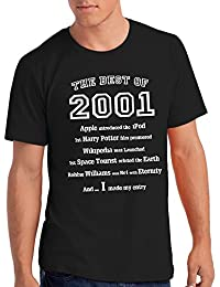 "Mens ""The Best of 2001"" 17th Birthday T Shirt Gift, 100% Soft Cotton"