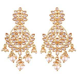 I Jewels Traditional Gold Plated Chandbali Earrings Encased With Faux Kundans For Women/Girls (E2465W)