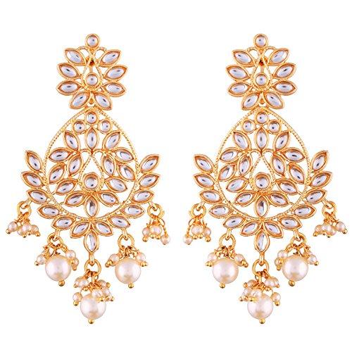 I Jewels Gold Plated Kundan Chandbali Earrings for Women (E2465W)