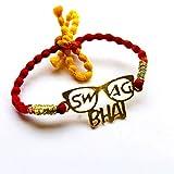 #6: Feyre Designer Steel Gold Polish Personalised Rakhi for Bhai/Brother/Bhaiya- (Swag Bhai)