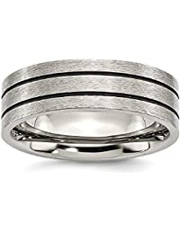 ICE CARATS Titanium Black Enamel Flat Grooved 7mm Brushed Wedding Ring Band Fashion Jewelry Gift Set For Women Heart