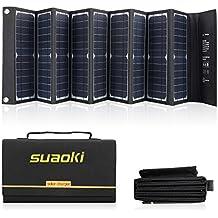 Suaoki - 60W Cargador Panel Solar (Placa Solar Pegable y Doblado, 18V DC, 5V USB salida, Para Moviles, Tablets, Dispositivos Digitales) (60w modelo 2)
