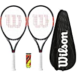 Wilson 2 x Federer Team Tennis Rackets with 3 Tennis Balls and Cover