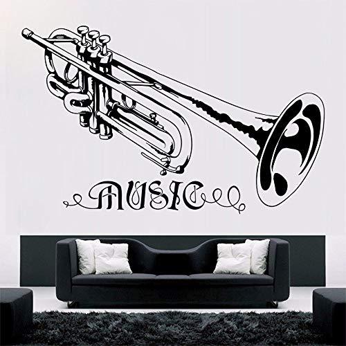 zqyjhkou Trompete Musik Wandaufkleber Abnehmbare Musik Stil Konzert Dekoration Design Poster Vinyl Trumpt Kunstwand Decor 57X36 cm